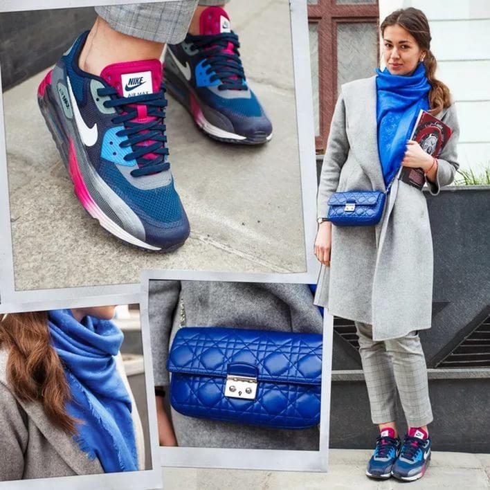 С чем одевать синие кроссовки