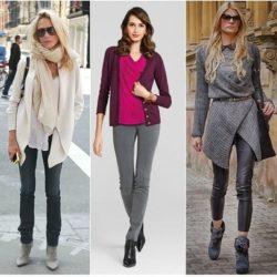 С чем женщине носить серые брюки?