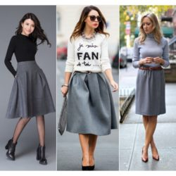 С чем носить серую юбку? Фото, примеры. Какой выбрать материал?