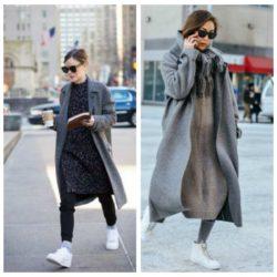 Как правильно сочетать пальто с кроссовками